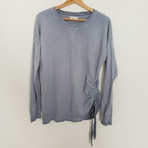 Maurices Heather Blue Ruched Sweatshirt Style Top